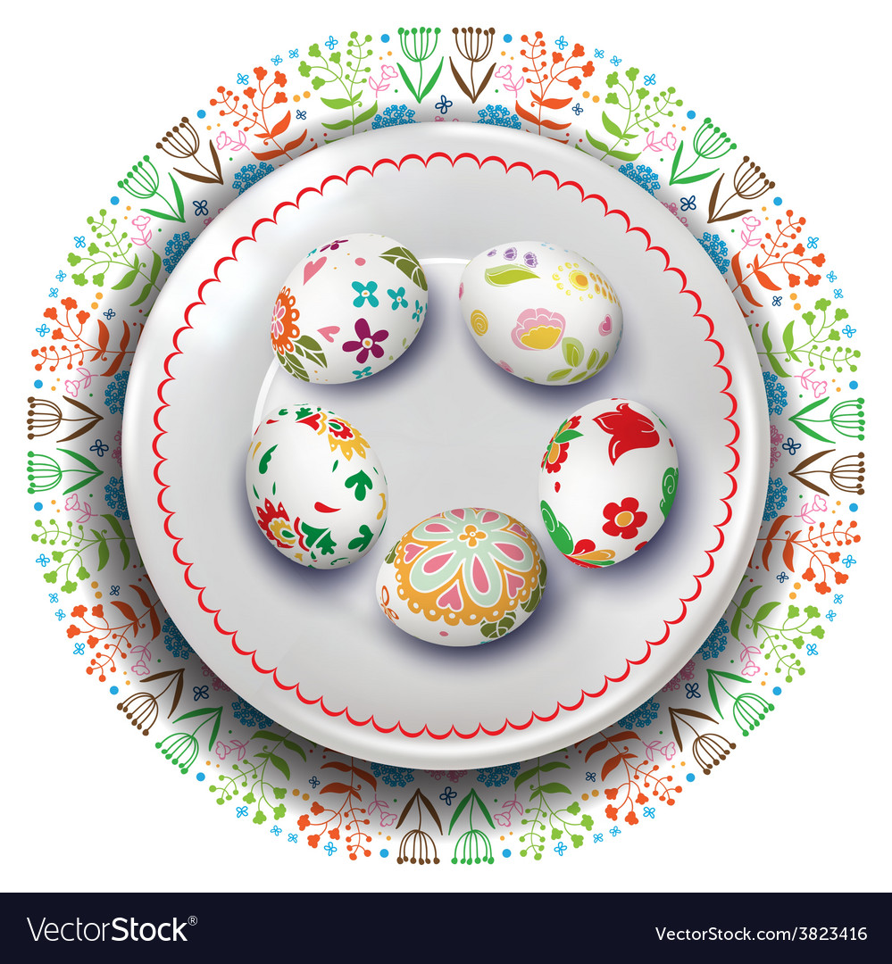 Easter plate with easter eggs vector | Price: 3 Credit (USD $3)