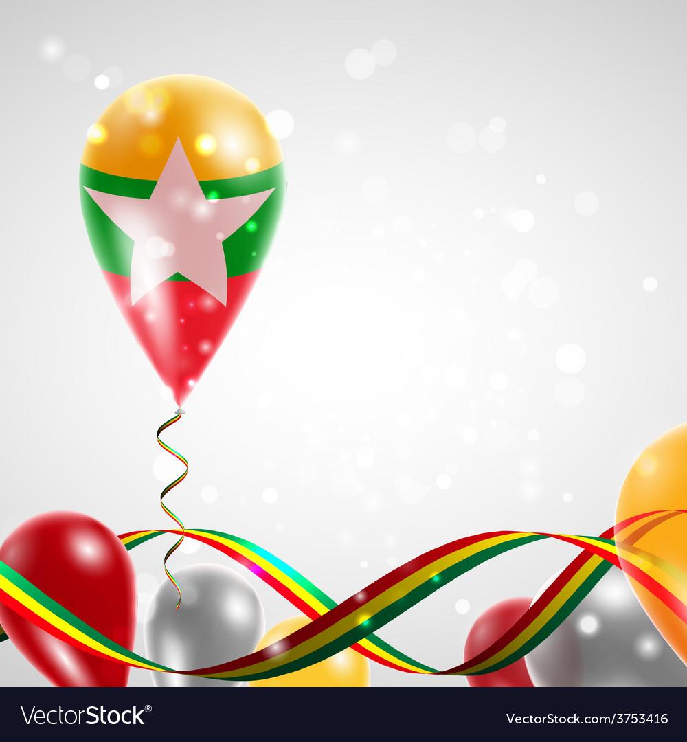 Flag of myanmar on balloon vector | Price: 1 Credit (USD $1)