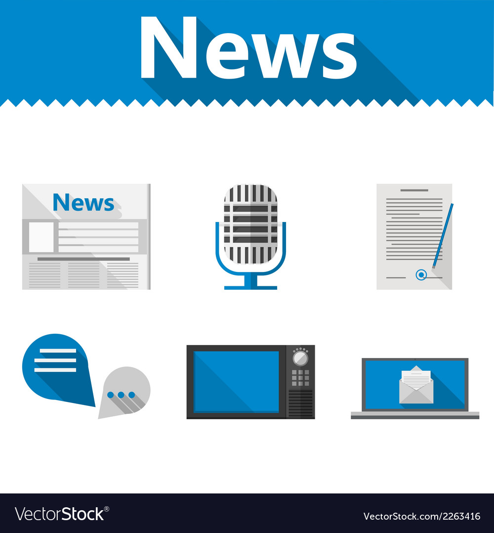 Flat icons for news vector | Price: 1 Credit (USD $1)