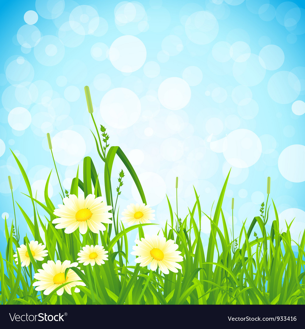 Flowers and grass vector | Price: 3 Credit (USD $3)