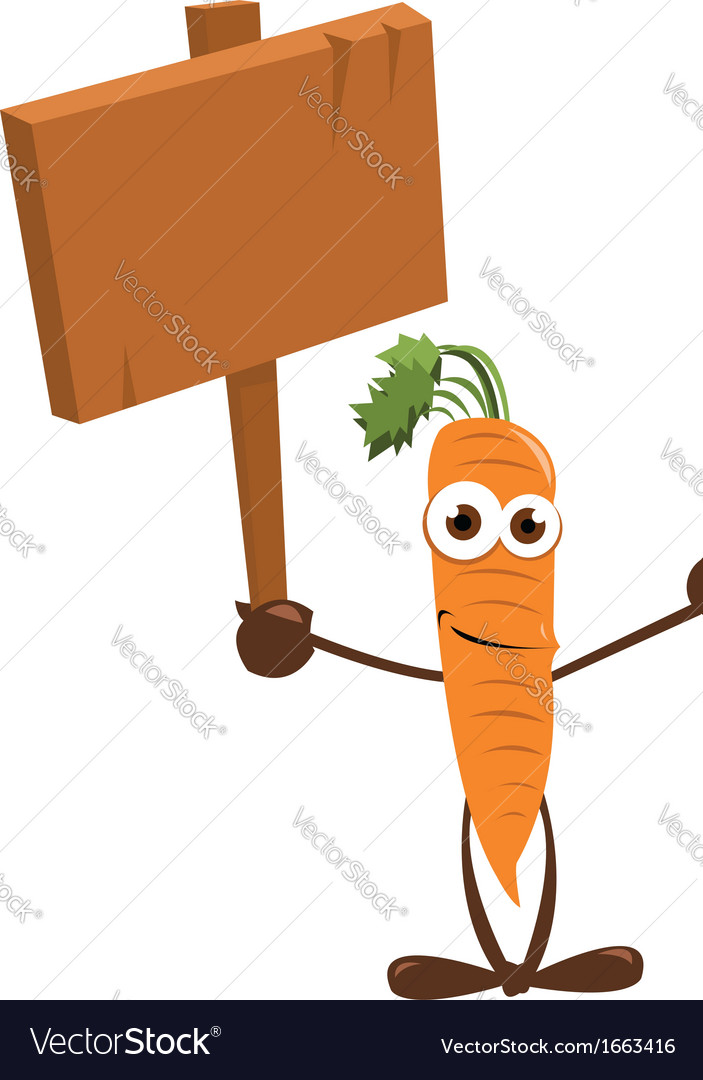 Funny carrot holding a sign vector | Price: 1 Credit (USD $1)