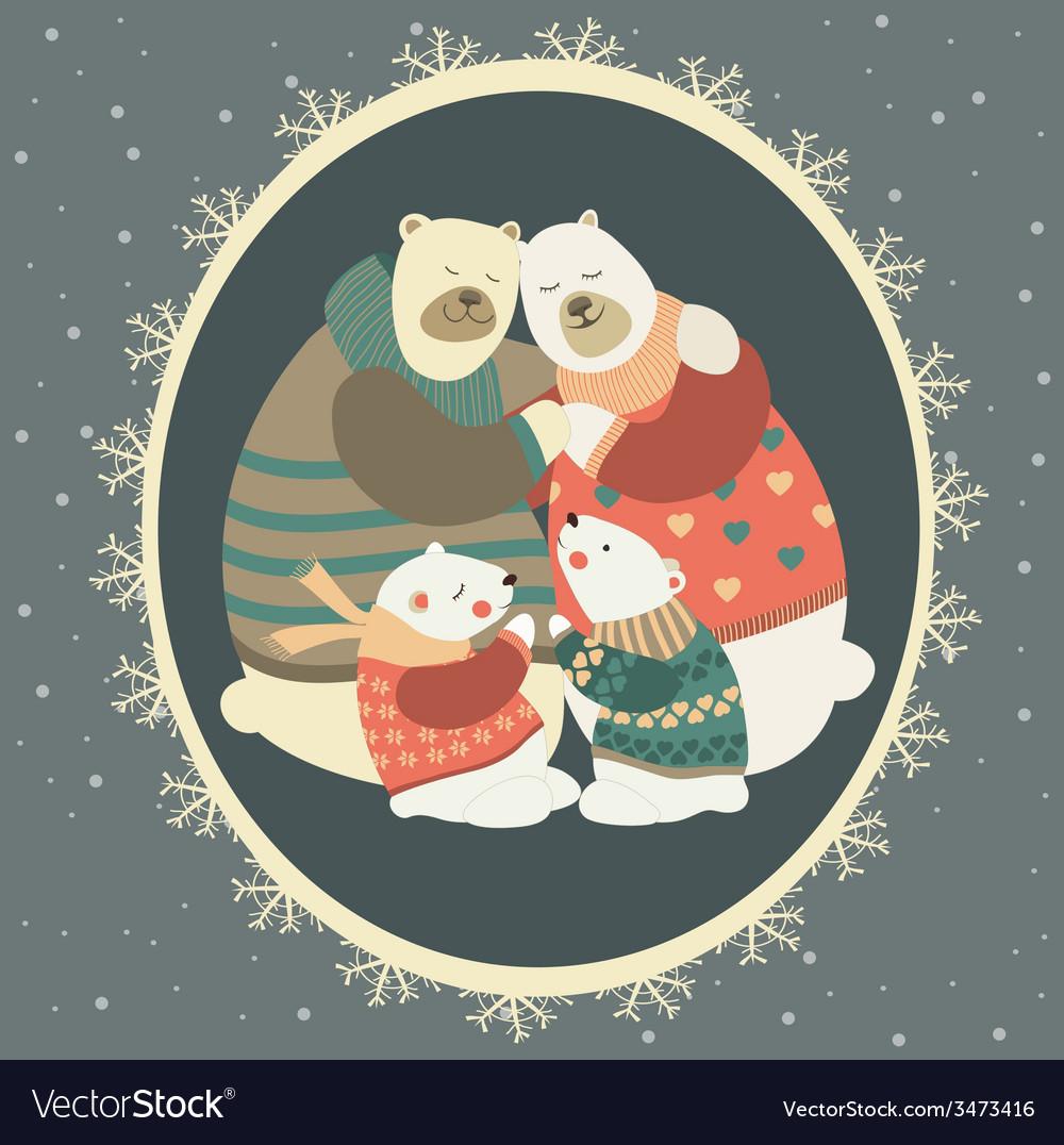 Greeting card polar bear family celebrating vector | Price: 1 Credit (USD $1)