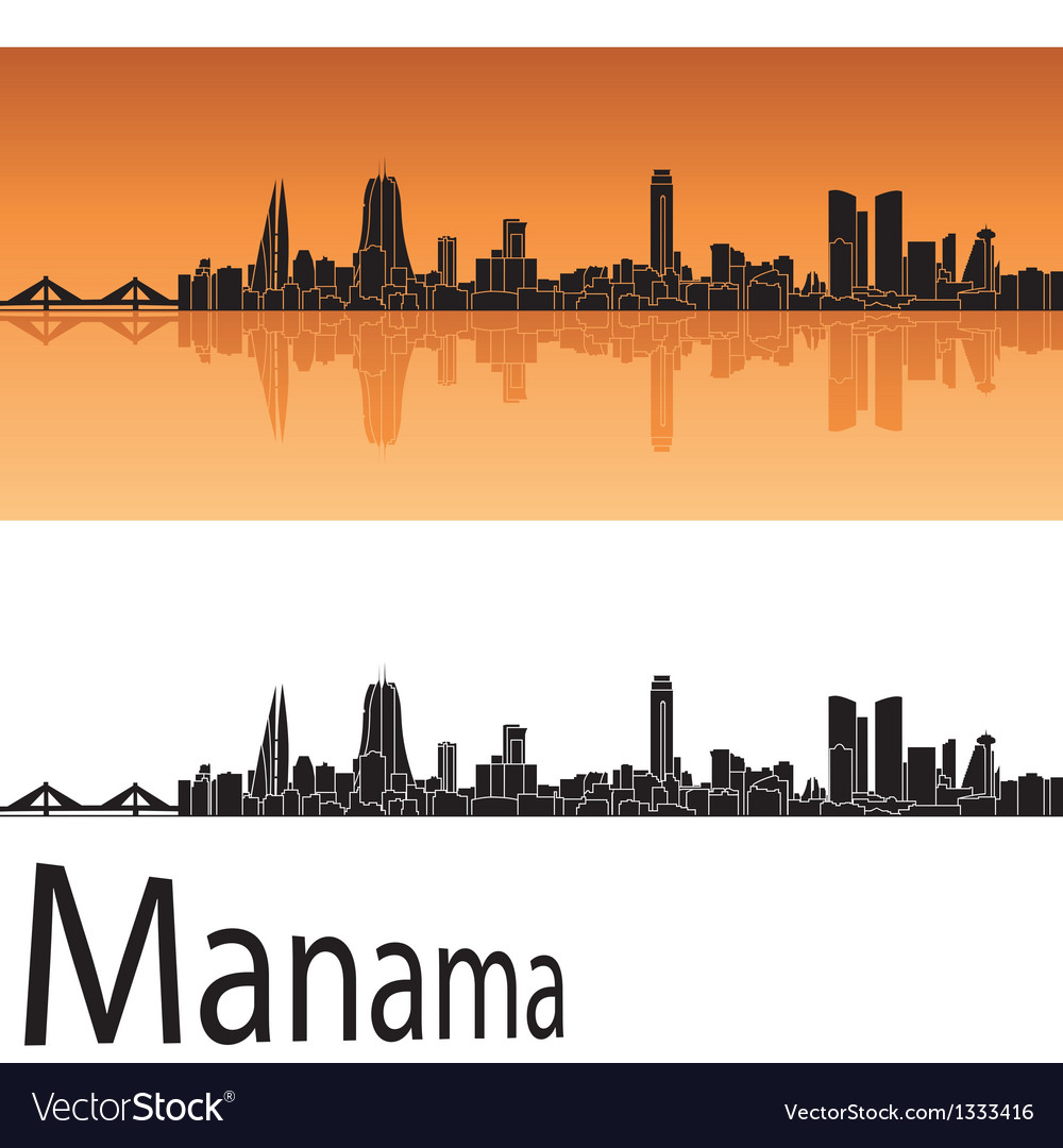 Manama skyline in orange background vector   Price: 1 Credit (USD $1)