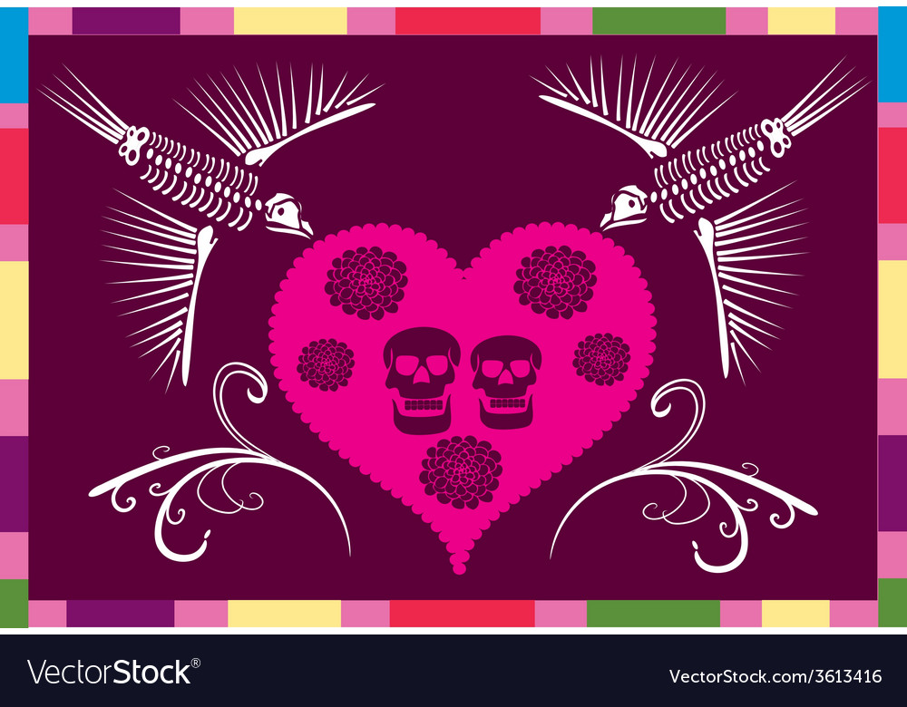 Mexican skull in a heart vector | Price: 1 Credit (USD $1)