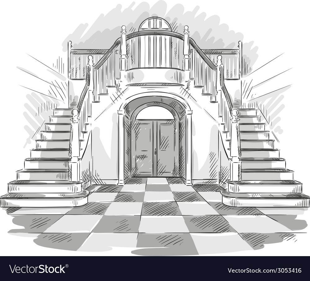Spacious hall and staircase drawing vector | Price: 1 Credit (USD $1)