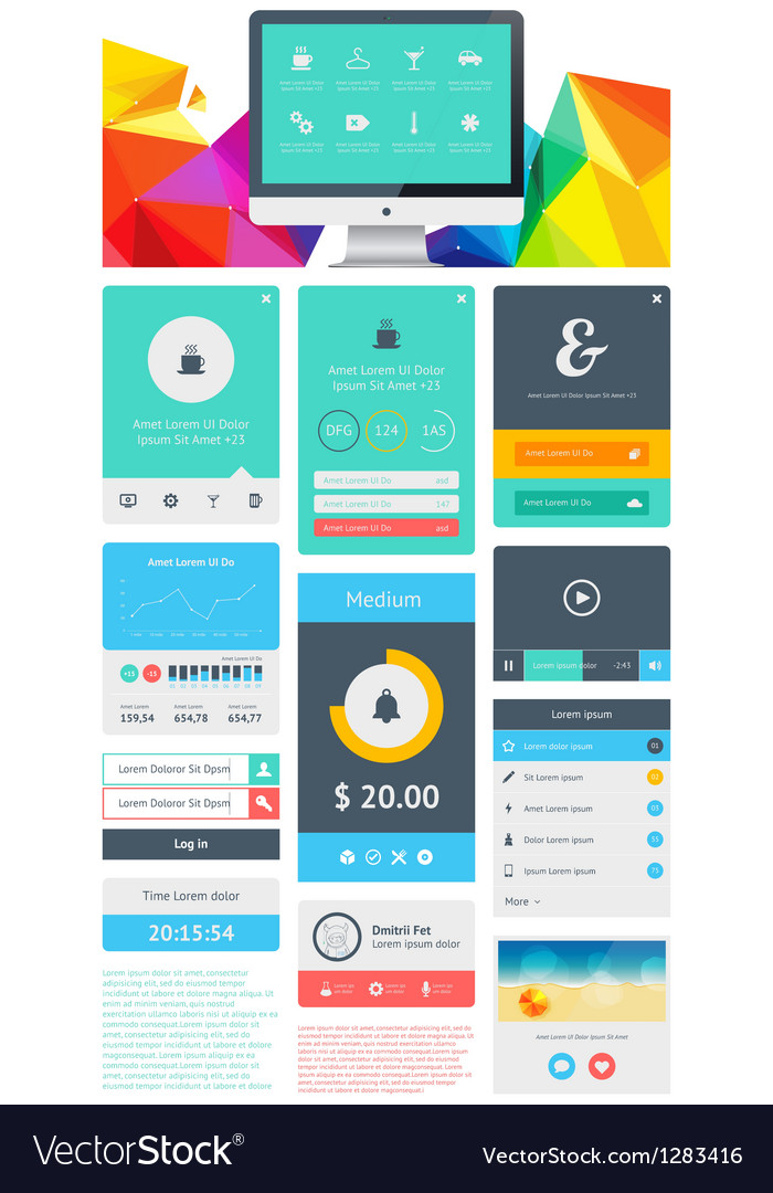 Ui is a set components featuring the flat design vector | Price: 3 Credit (USD $3)