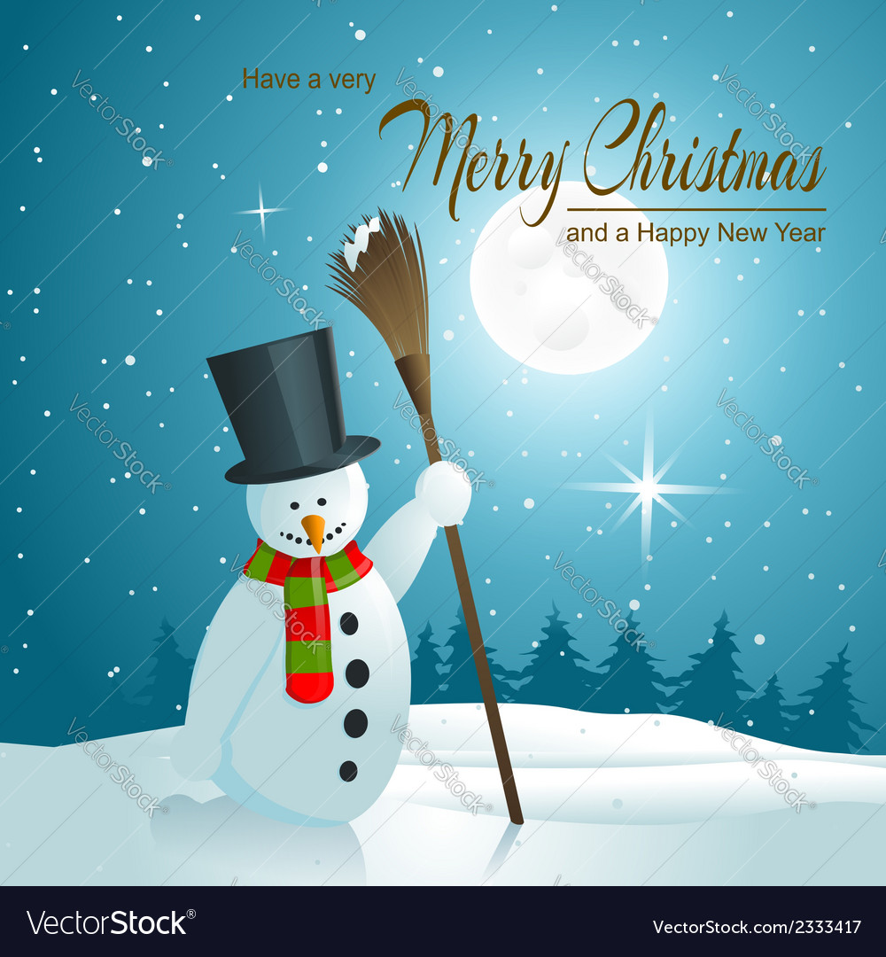 Background with snowman vector | Price: 3 Credit (USD $3)
