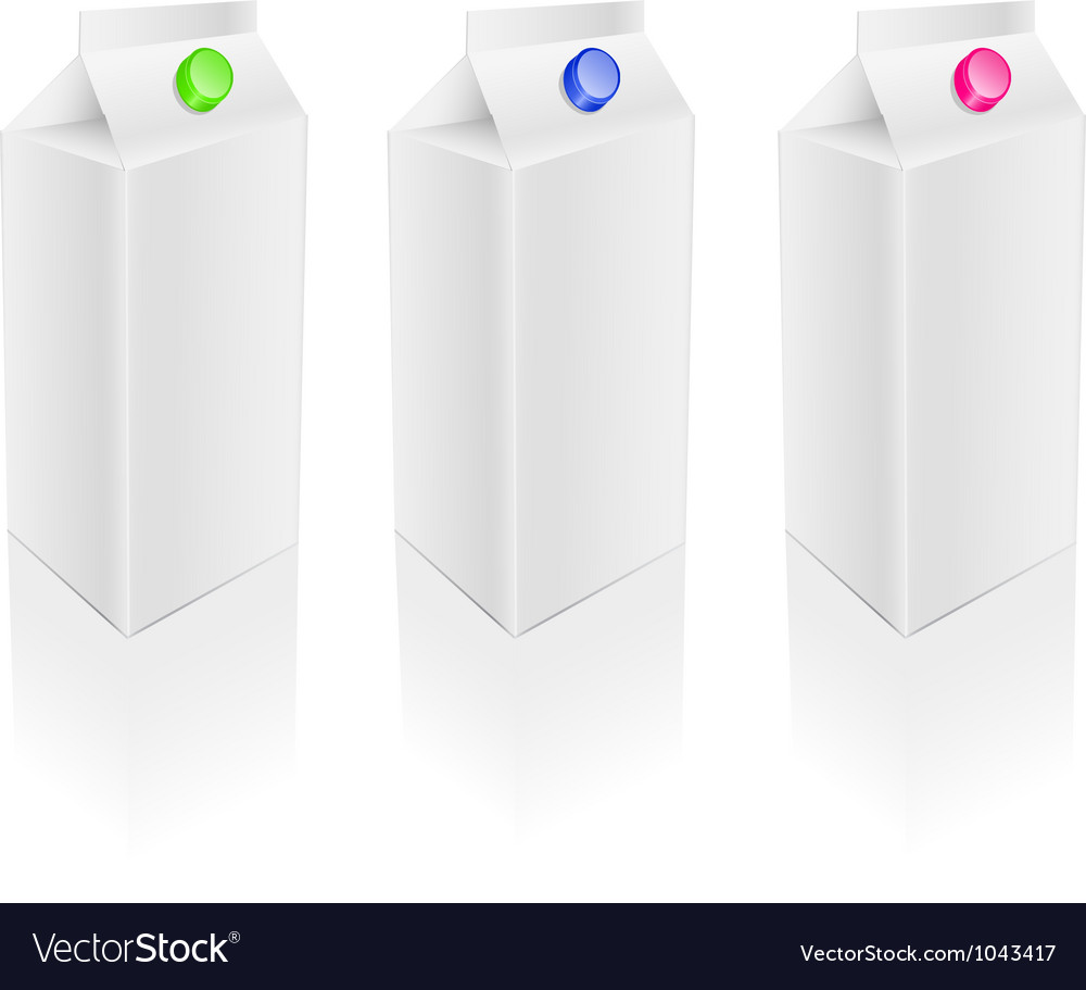 Blank white milk pack set vector | Price: 1 Credit (USD $1)
