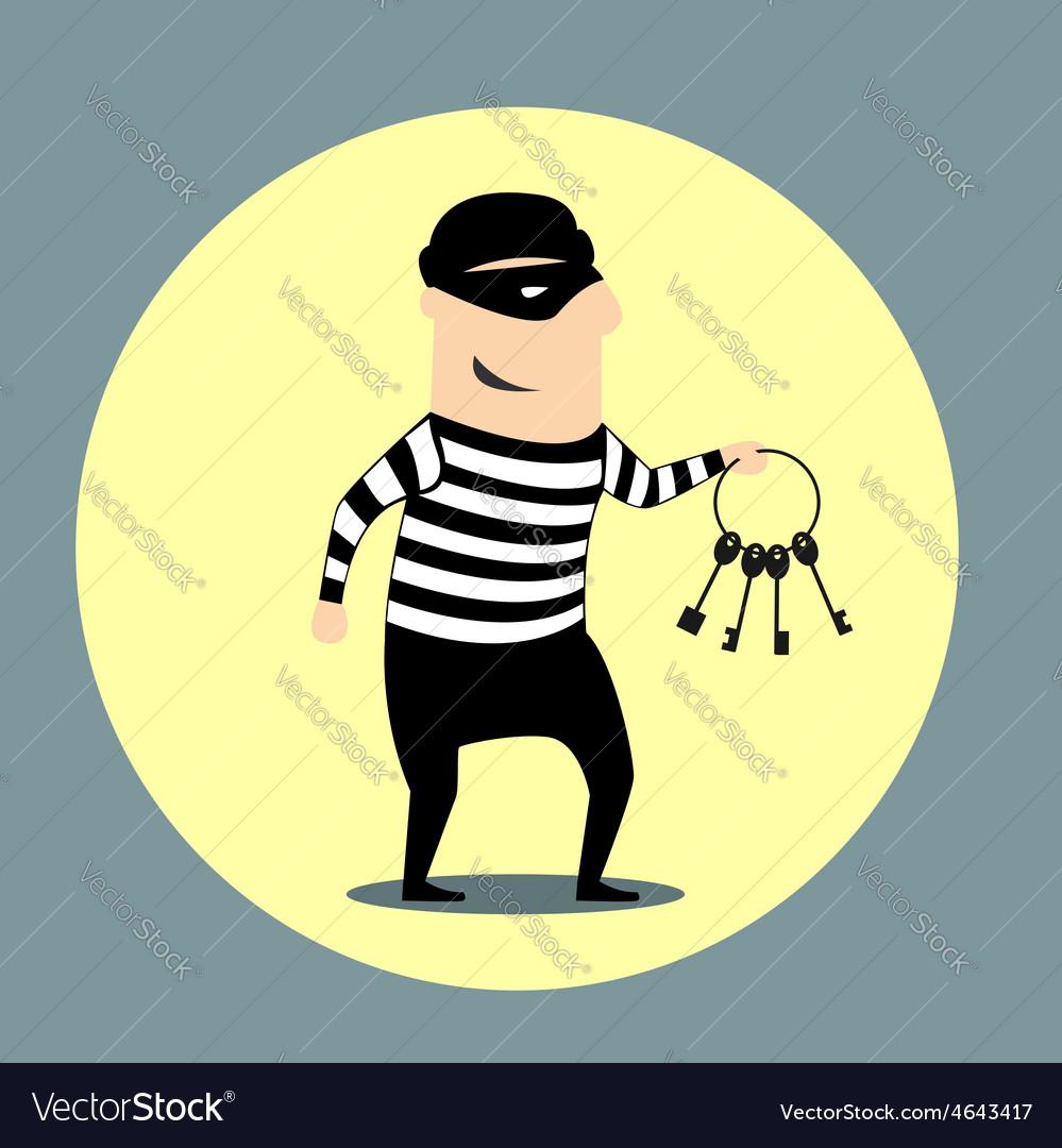 Burglar carrying a bunch of keys vector | Price: 1 Credit (USD $1)