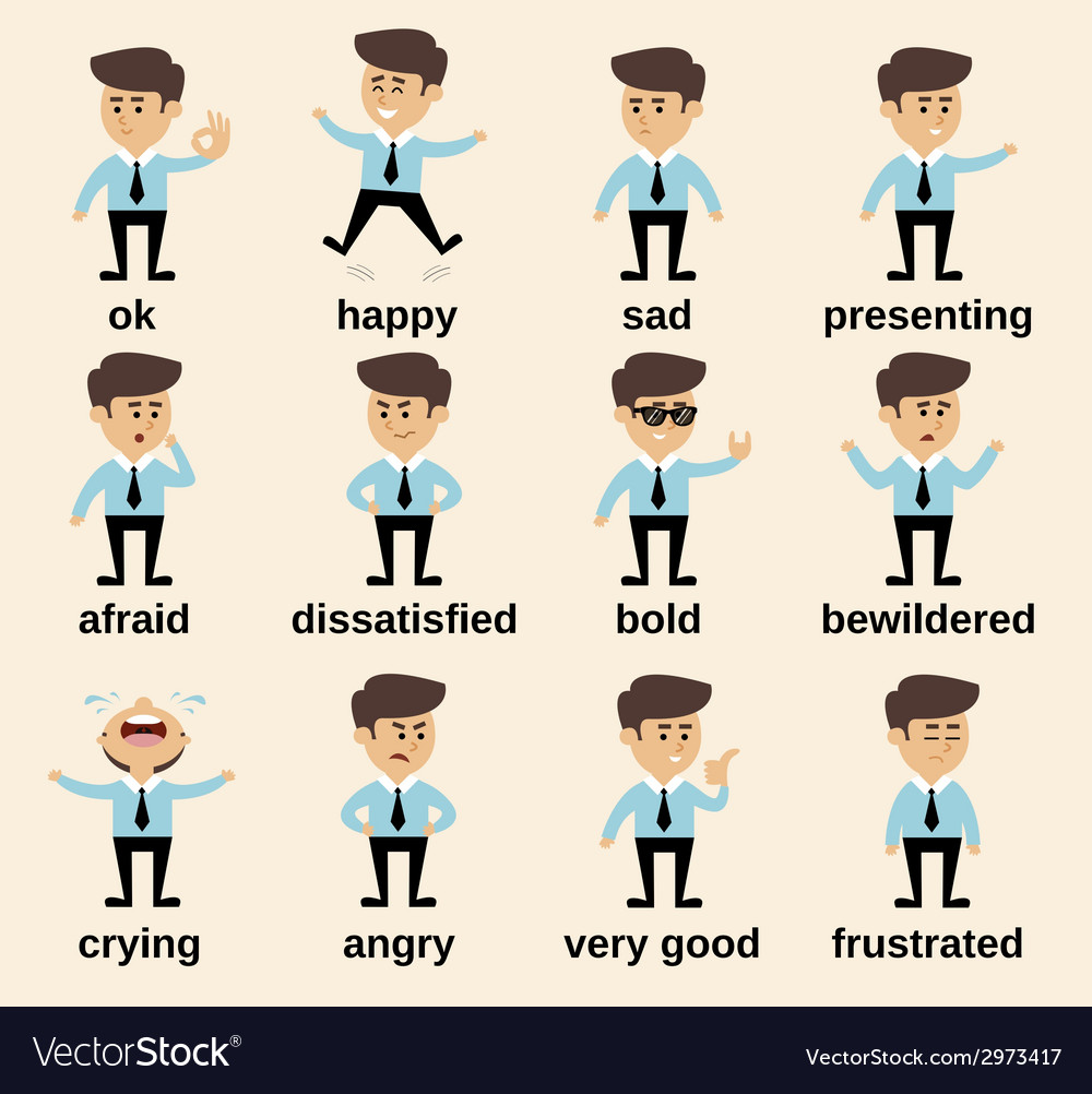 Businessman emotions set vector | Price: 1 Credit (USD $1)