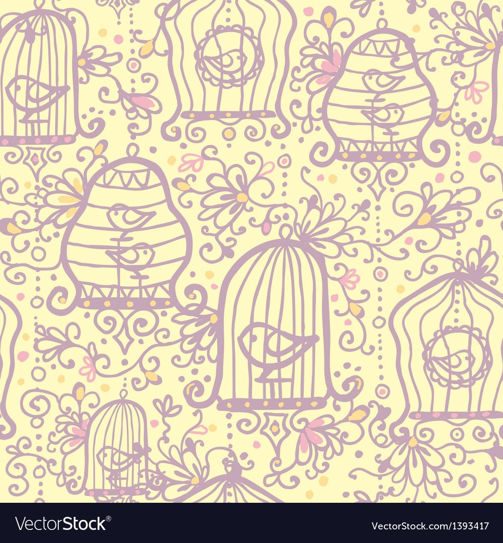 Doodle birdcages seamless pattern background vector | Price: 1 Credit (USD $1)