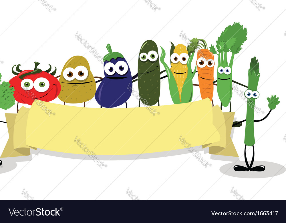 Funny veggies banner vector | Price: 1 Credit (USD $1)