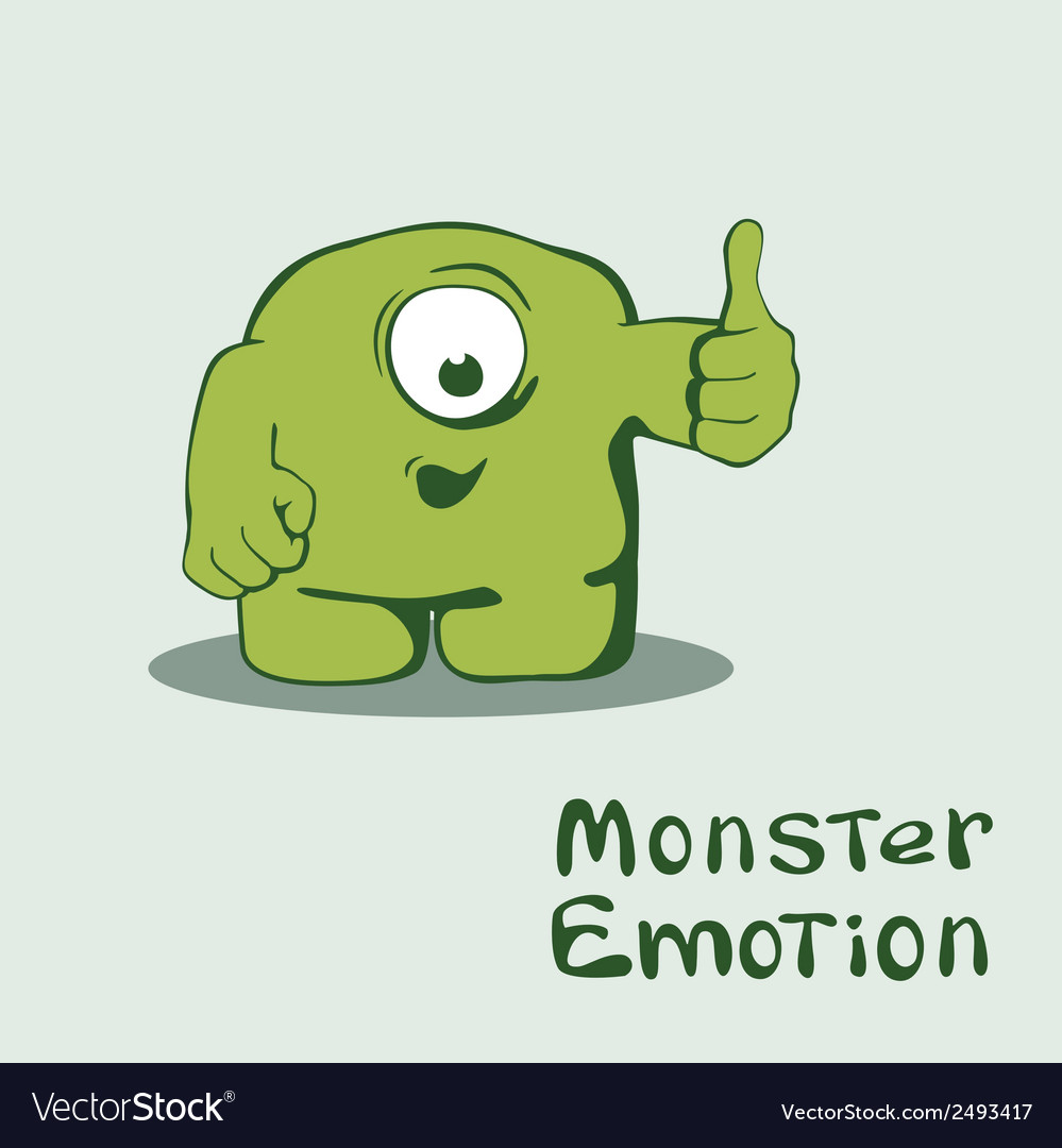 Monster emoticon with thumb up vector | Price: 1 Credit (USD $1)