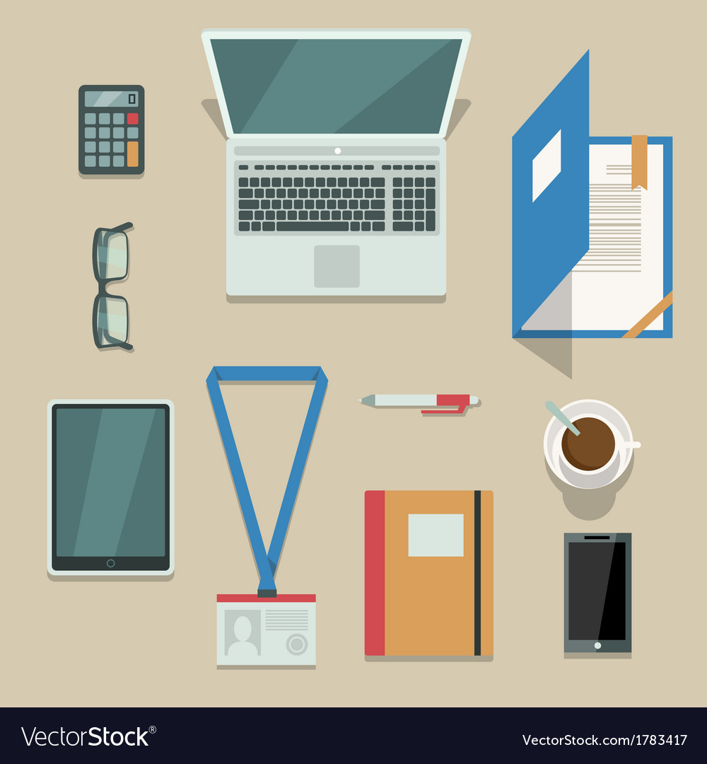 Office workplace with mobile devices and documents vector | Price: 1 Credit (USD $1)