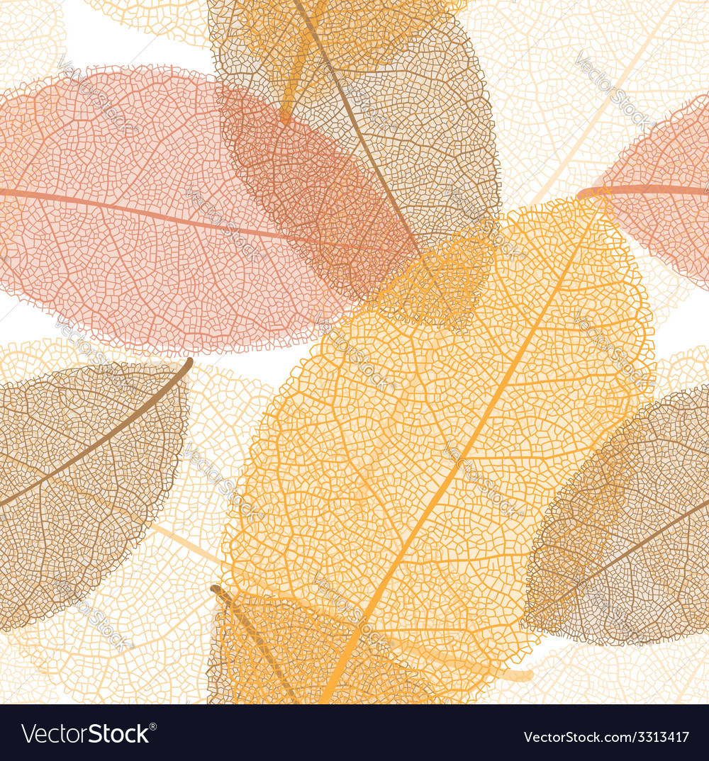 Seamless pattern from autumn leaves with thread vector