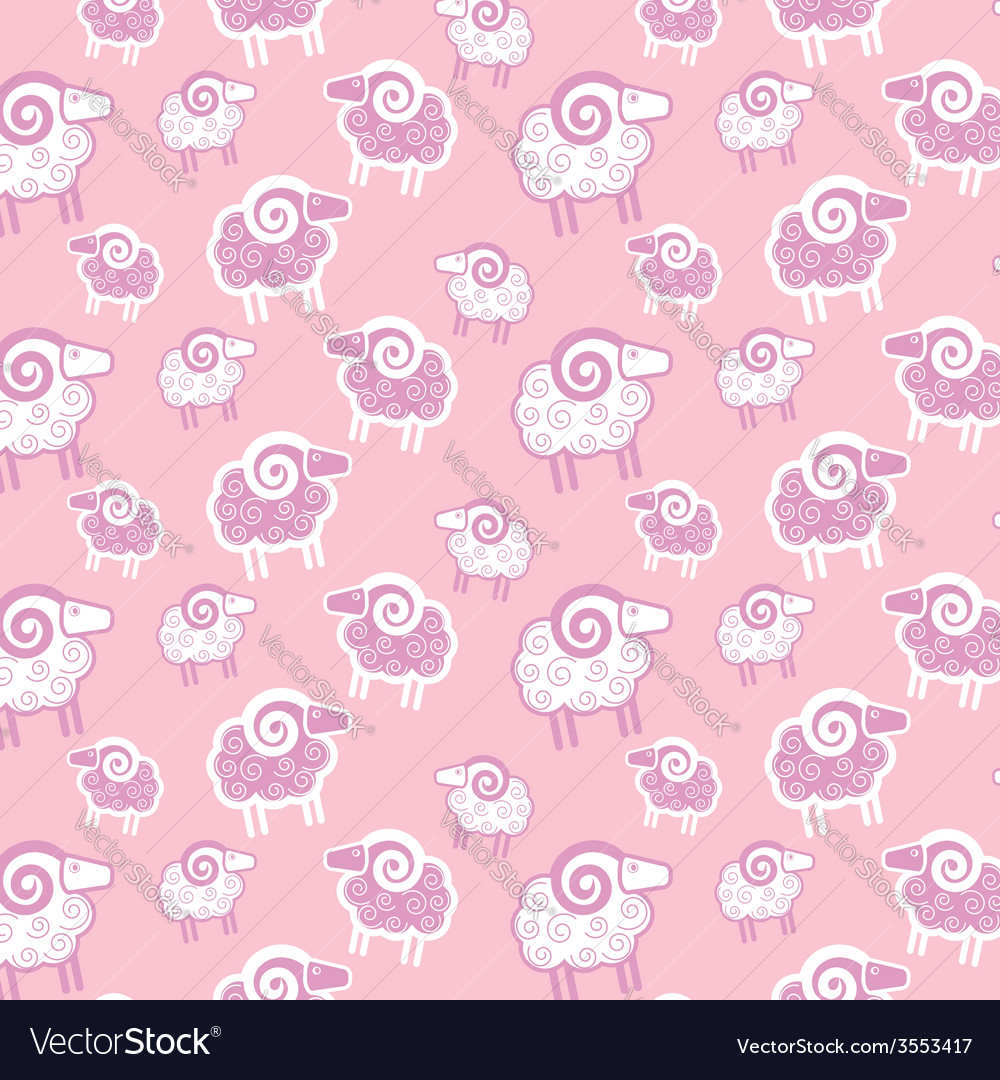 Seamless pattern with sheep vector   Price: 1 Credit (USD $1)