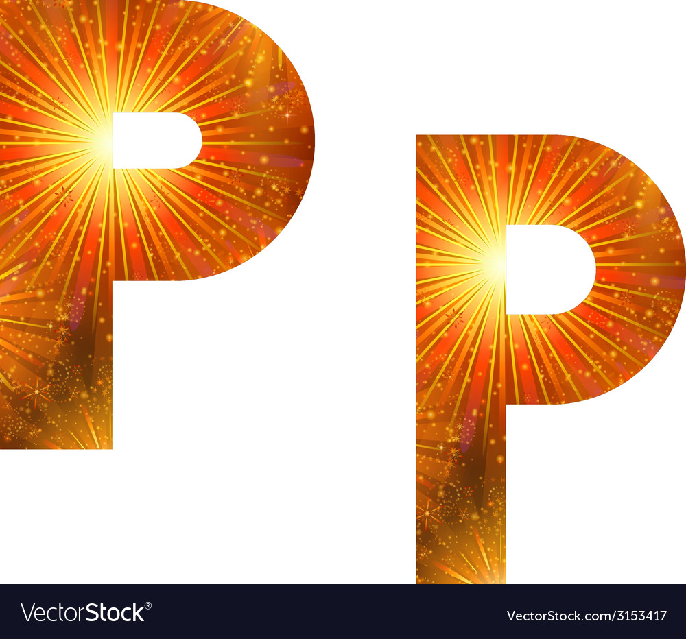 Set of letters firework p vector | Price: 1 Credit (USD $1)