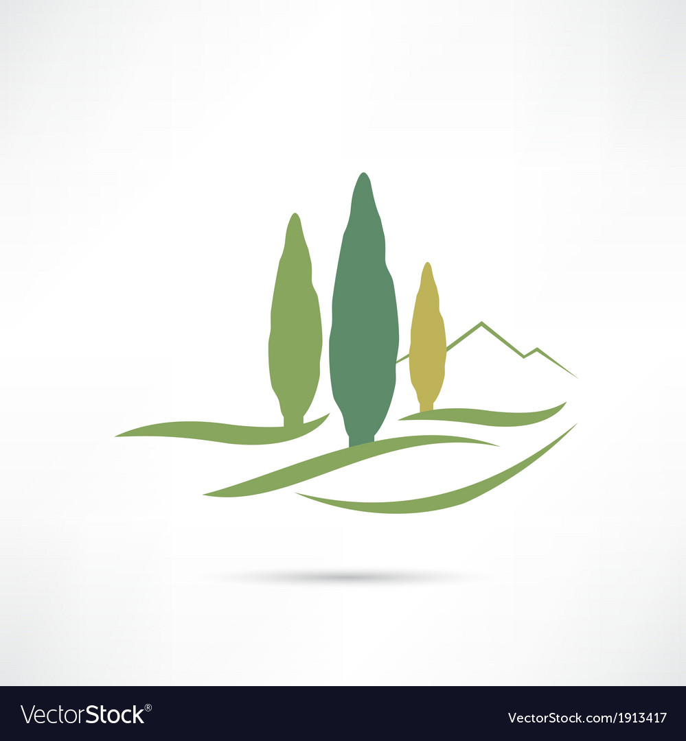 Trees growing in a field icon vector | Price: 1 Credit (USD $1)