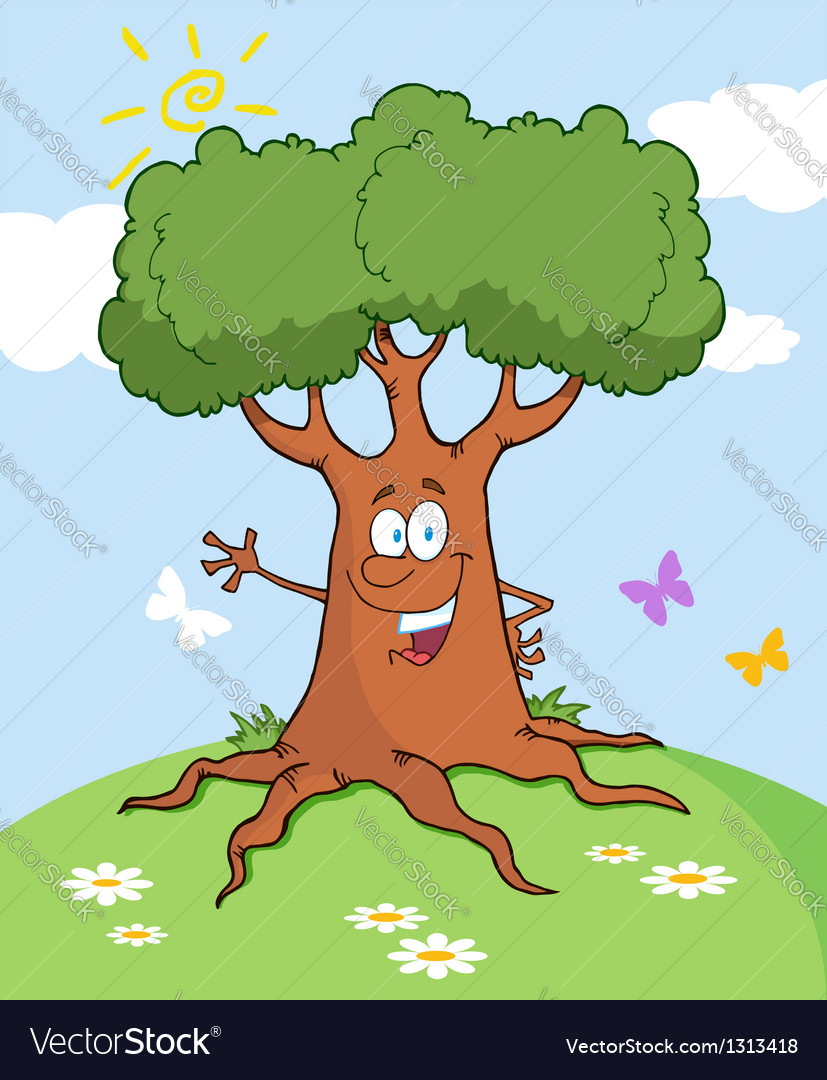 Cartoon tree waving a greeting landscape vector | Price: 1 Credit (USD $1)