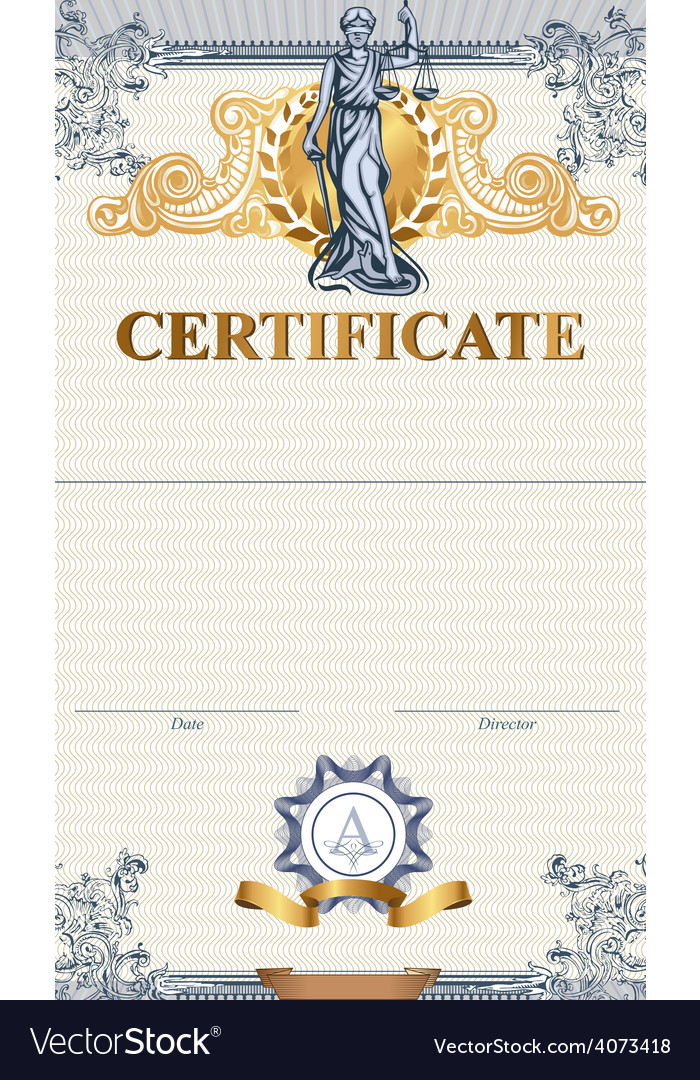 Certificate template with femida vector | Price: 3 Credit (USD $3)