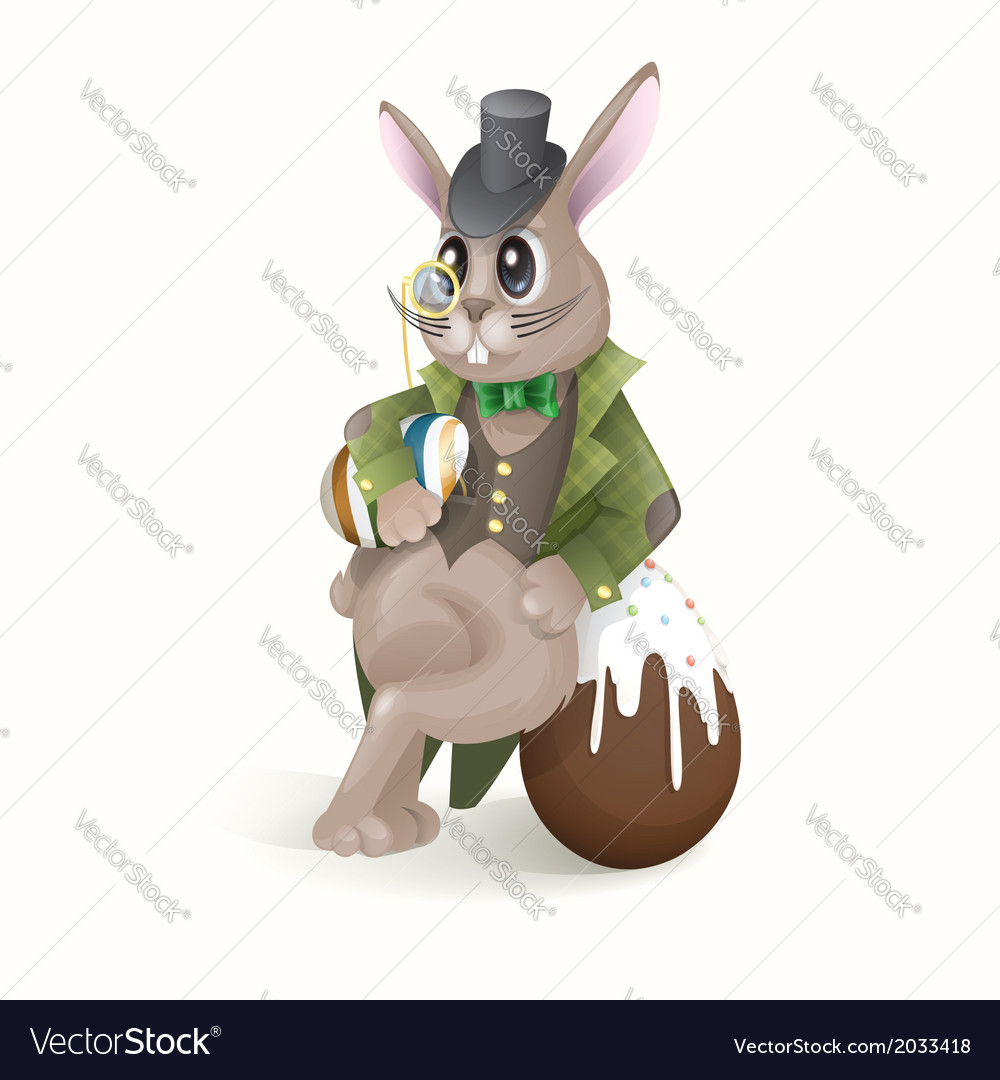 Easter bunny with chocolate egg vector | Price: 1 Credit (USD $1)