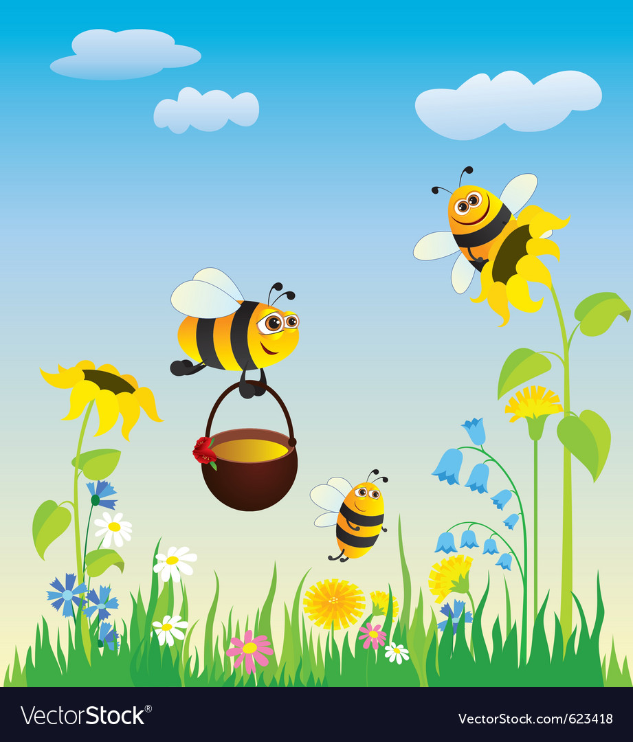Flowering meadow and bees vector | Price: 1 Credit (USD $1)