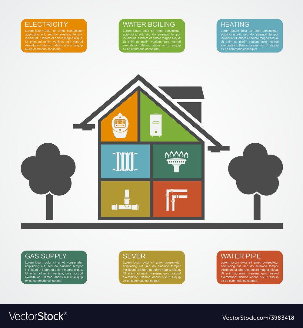House infographic vector | Price: 1 Credit (USD $1)