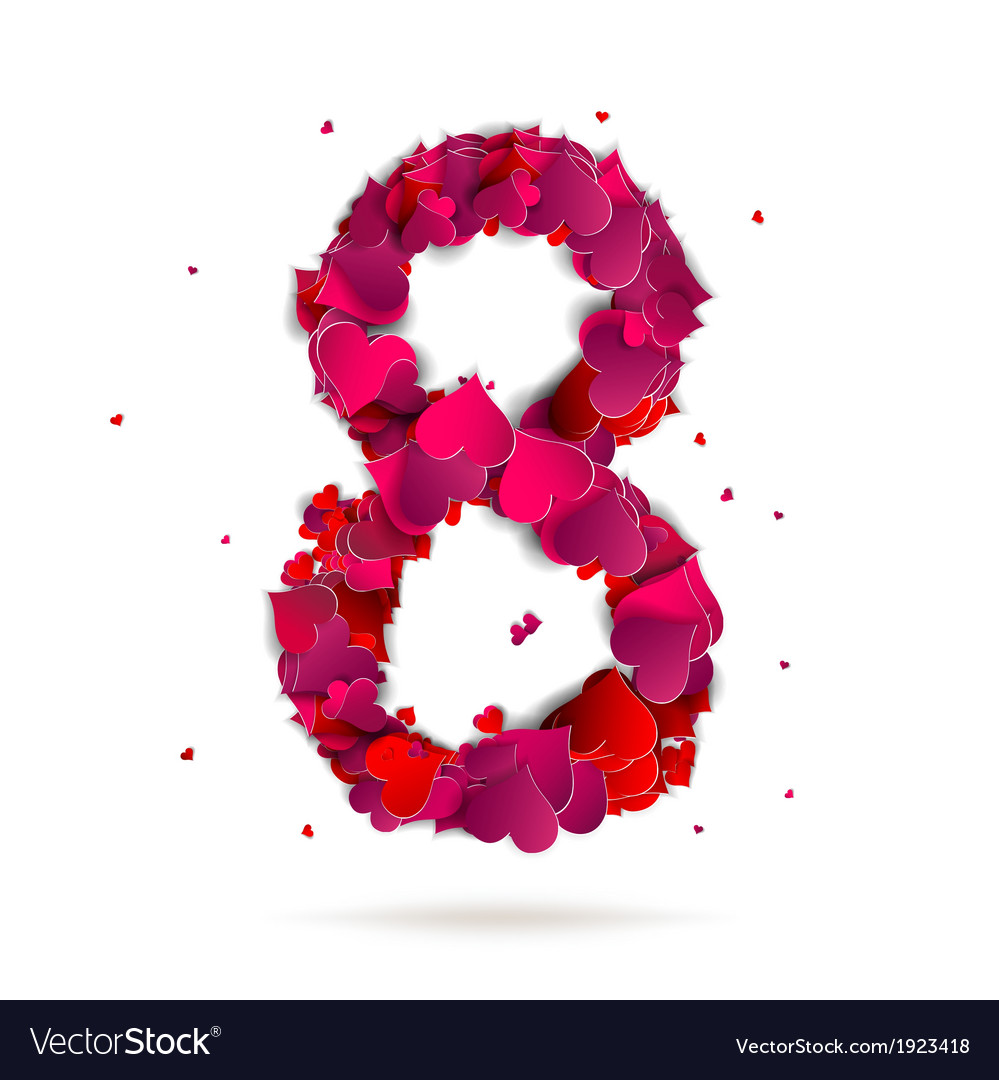 Number eight 8 made from red hearts love alphabet vector | Price: 1 Credit (USD $1)