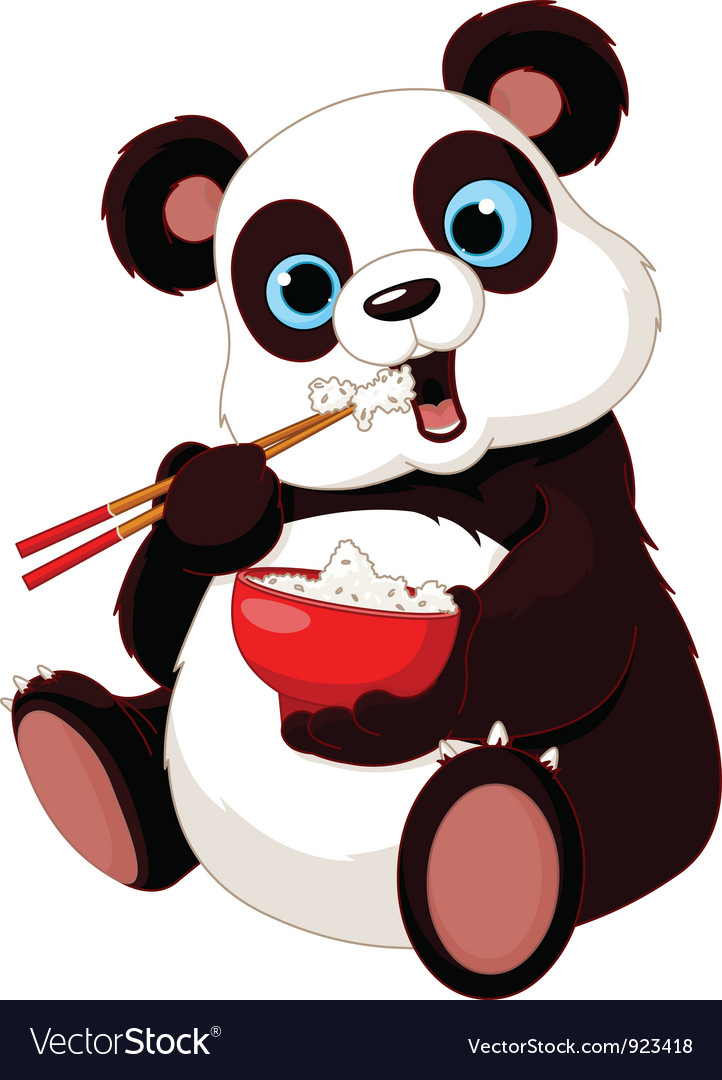 Panda eating rice vector | Price: 1 Credit (USD $1)