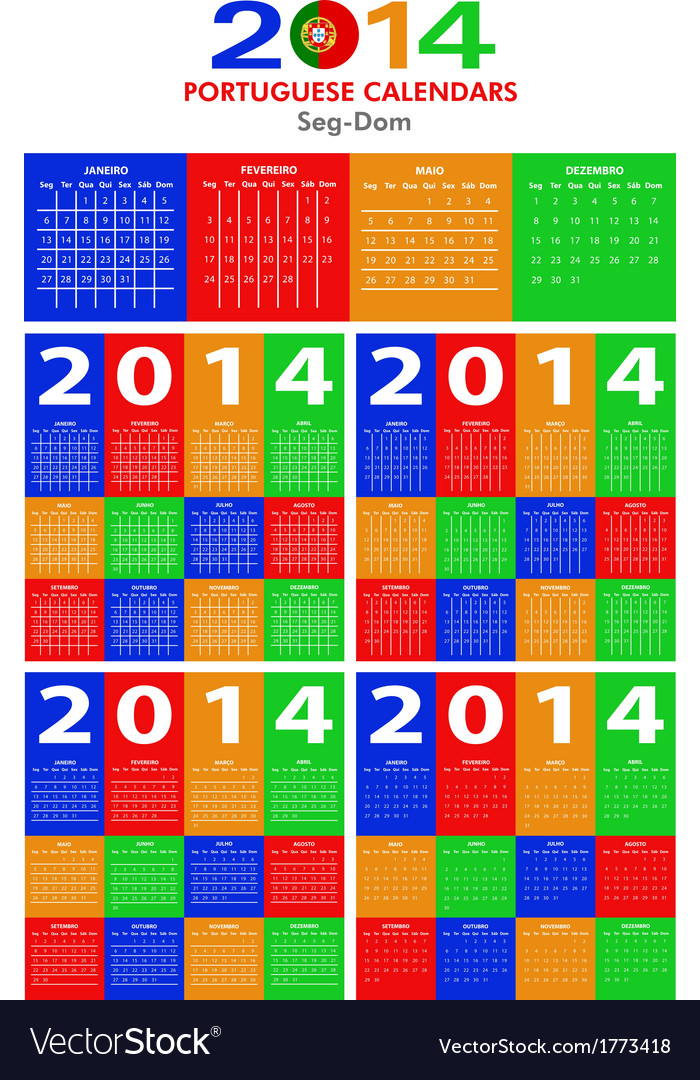 Portuguese calendar 2014 vector | Price: 1 Credit (USD $1)