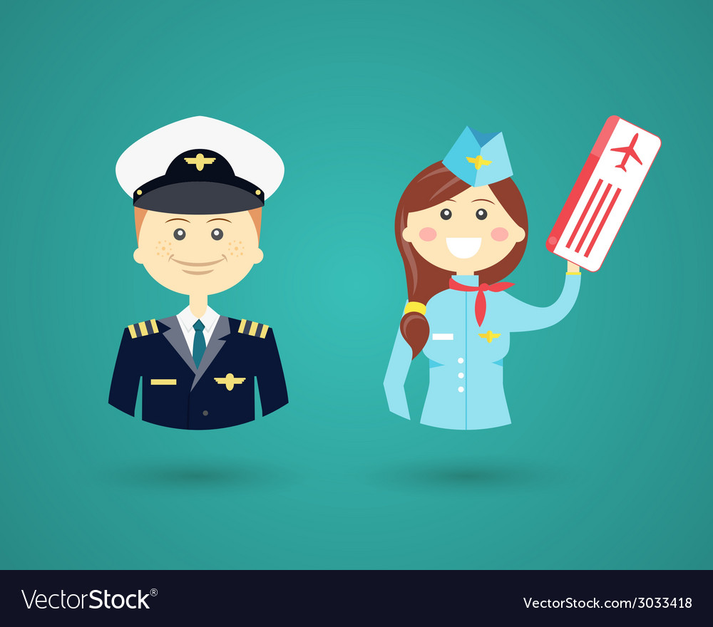 Professions- pilot and flight attendant vector | Price: 1 Credit (USD $1)