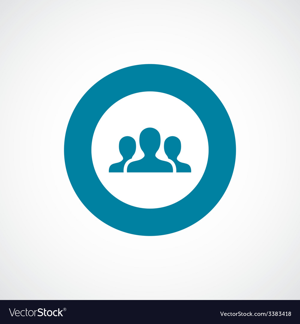 Team bold blue border circle icon vector | Price: 1 Credit (USD $1)