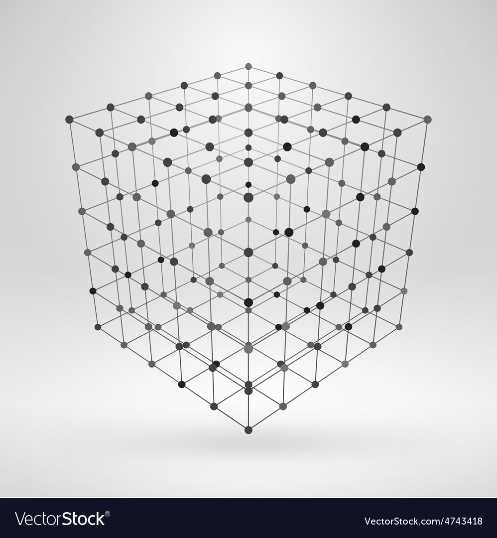 Wireframe polygonal element 3d cube with lines and vector | Price: 1 Credit (USD $1)