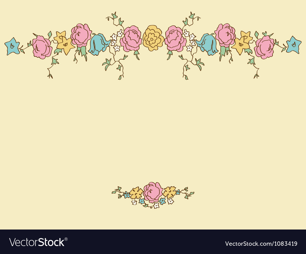 Card with drawing flowers vector | Price: 1 Credit (USD $1)
