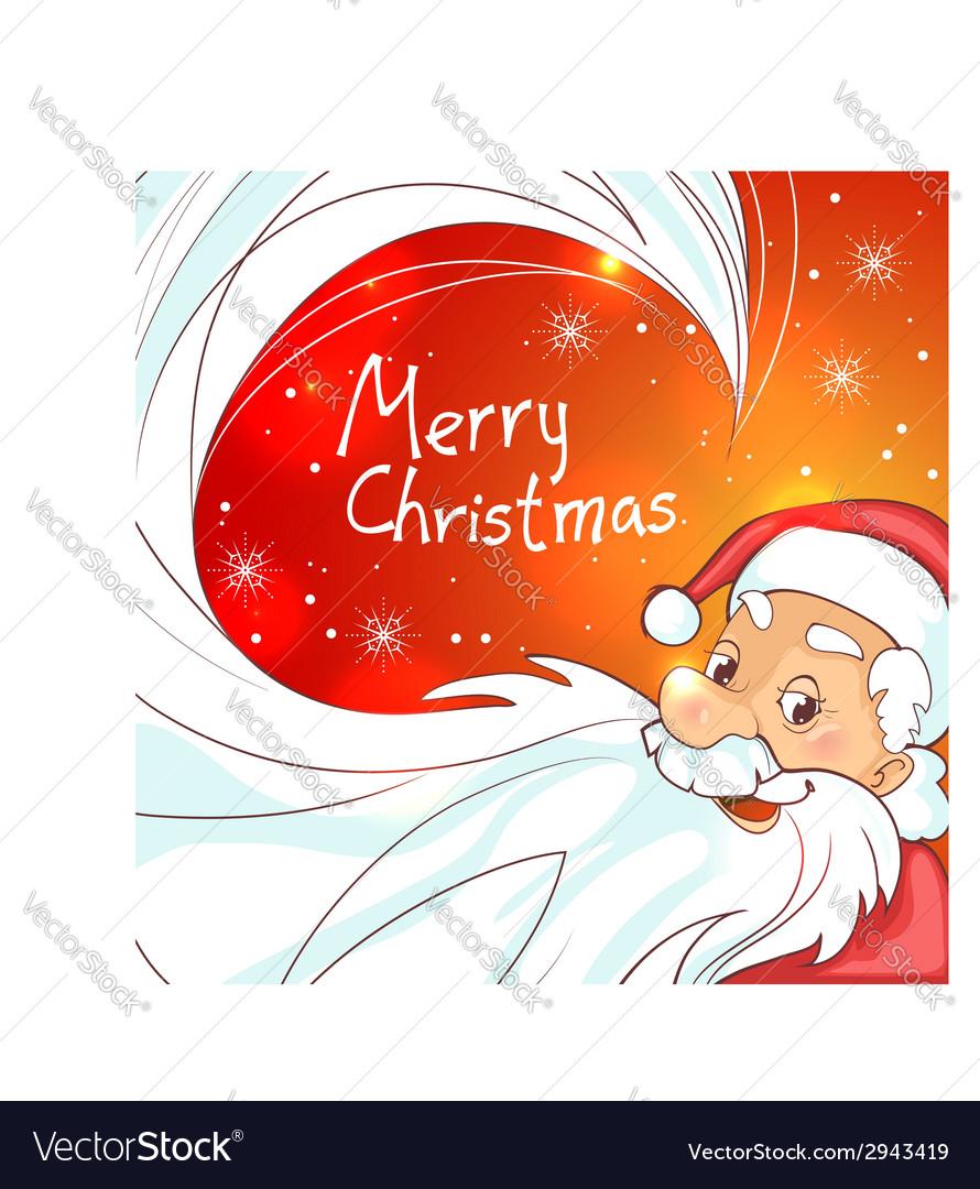 Cute cartoon santa claus on christmas background vector | Price: 1 Credit (USD $1)