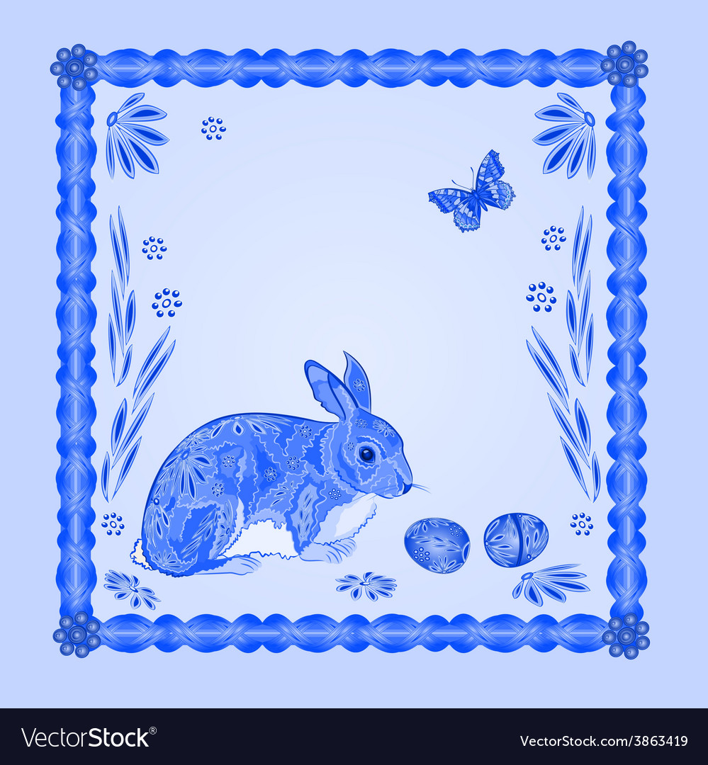 Easter blue bunny with butterfly frame vector | Price: 1 Credit (USD $1)