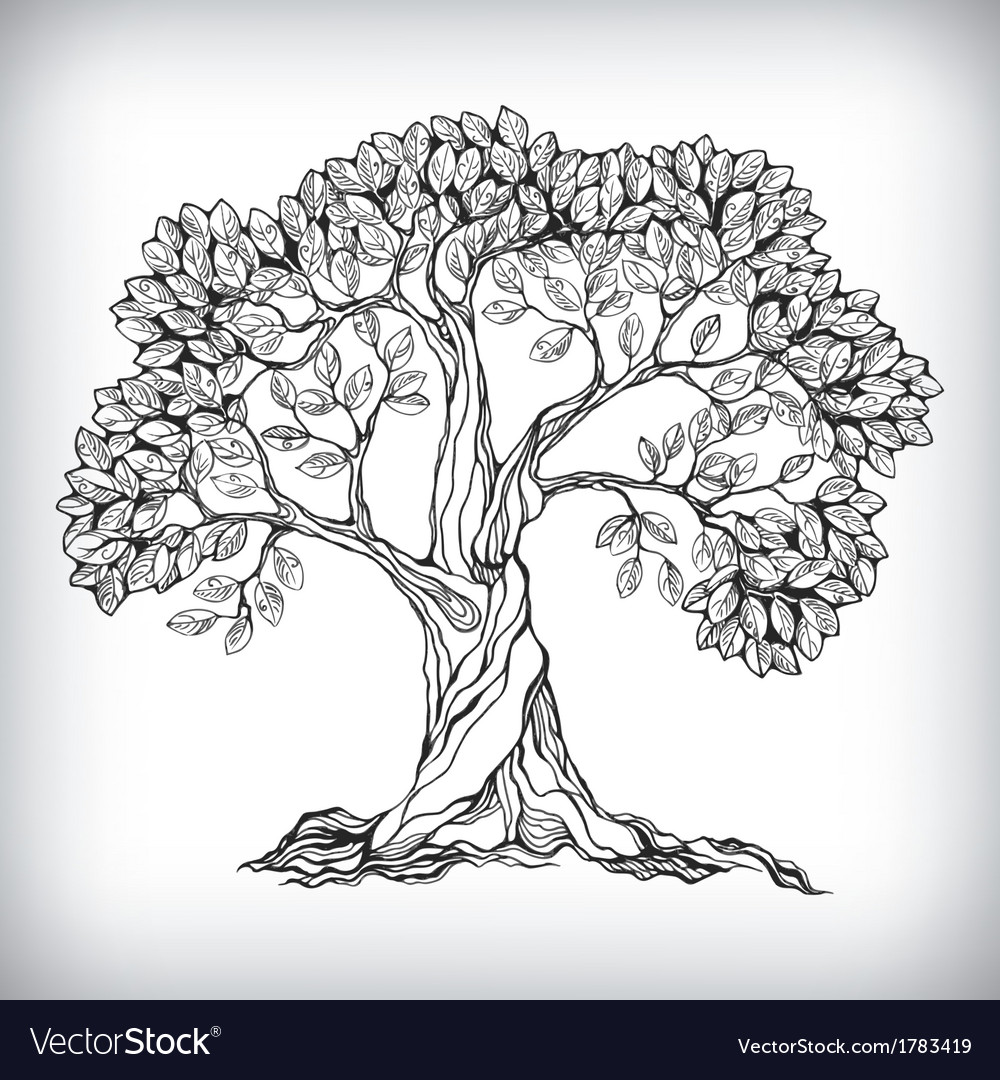 Hand drawn tree symbol vector