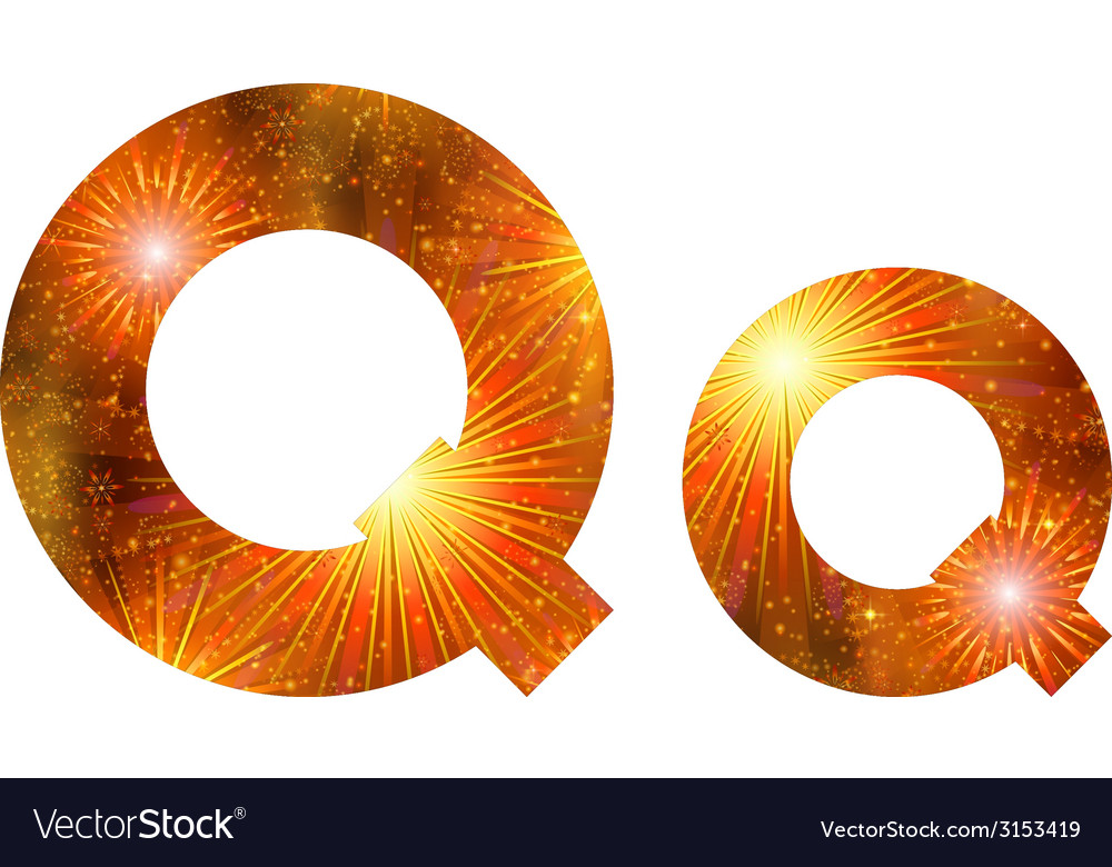 Set of letters firework q vector | Price: 1 Credit (USD $1)