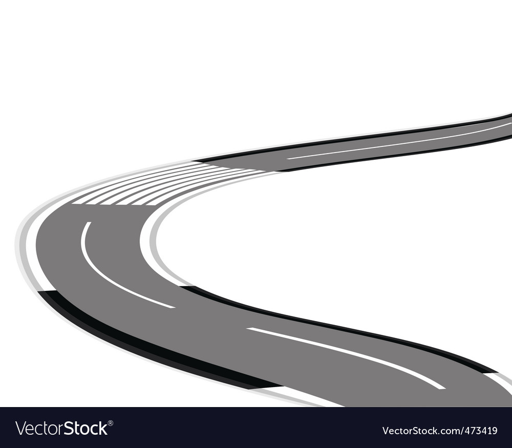 Twisting road over white background vector | Price: 1 Credit (USD $1)