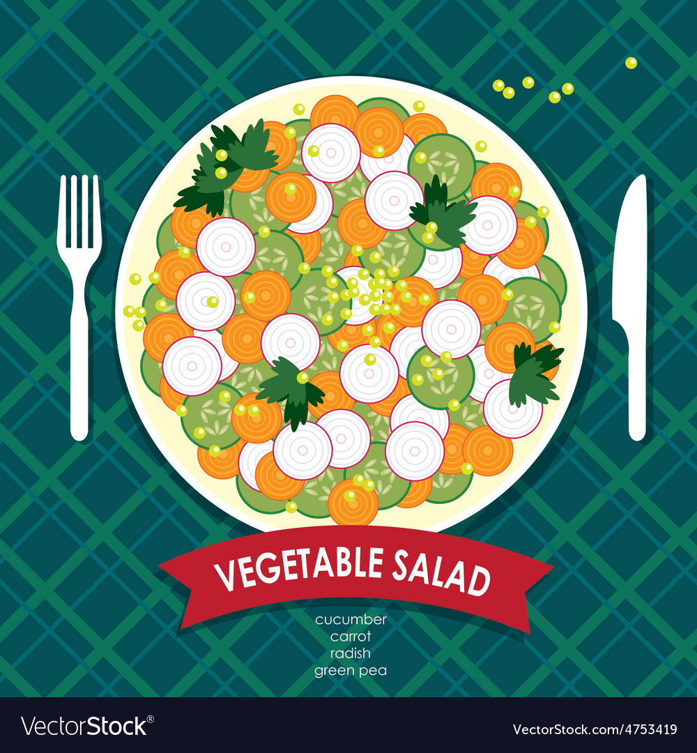 Vegetable salad vector | Price: 1 Credit (USD $1)