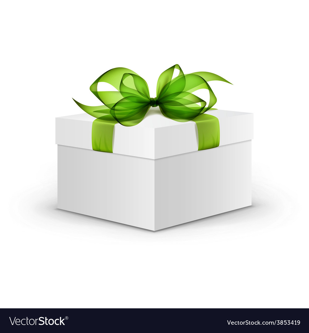 White square gift box with green ribbon and bow vector | Price: 3 Credit (USD $3)