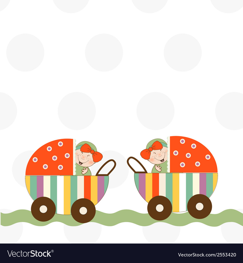 Baby twins announcement card vector | Price: 1 Credit (USD $1)