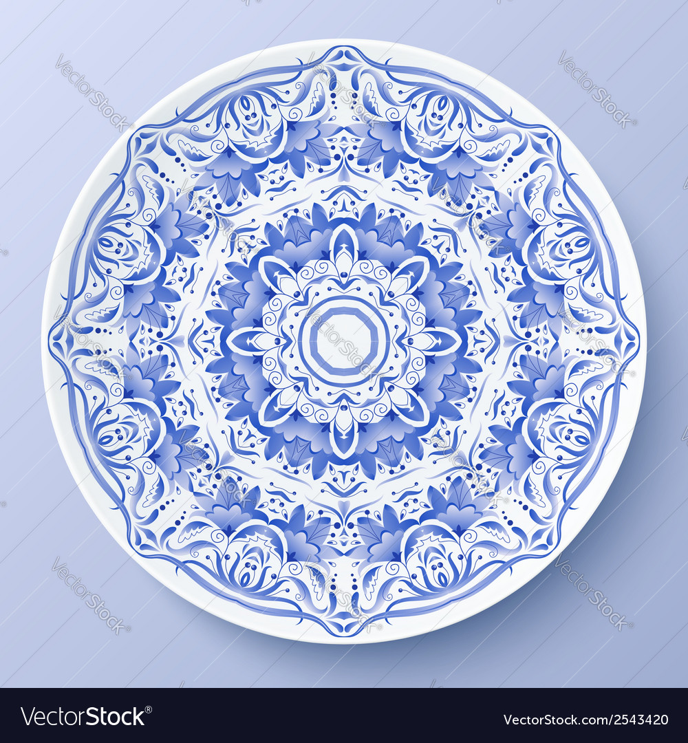 Blue floral ornament decorative plate vector   Price: 1 Credit (USD $1)