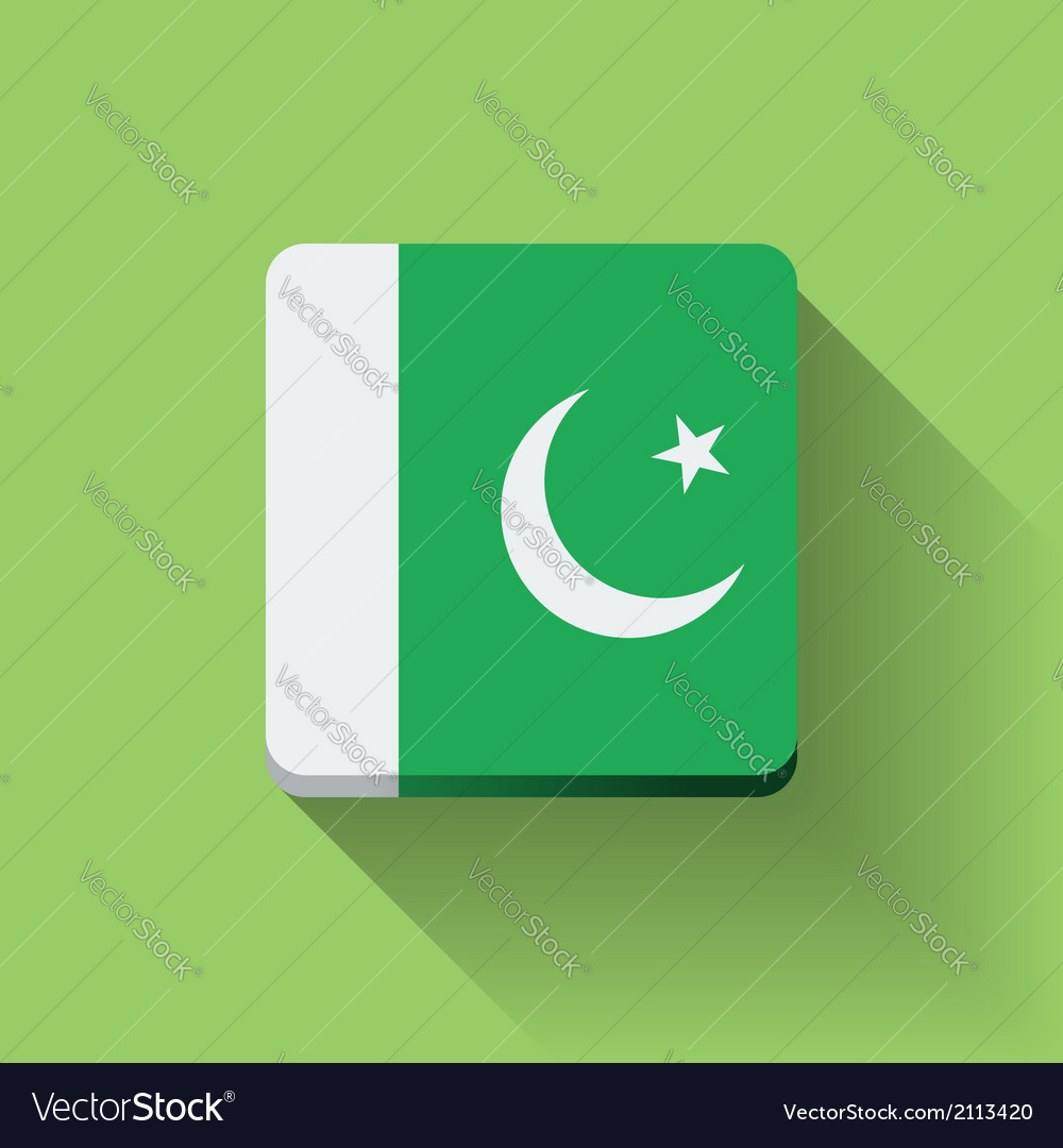 Button with flag of pakistan vector | Price: 1 Credit (USD $1)
