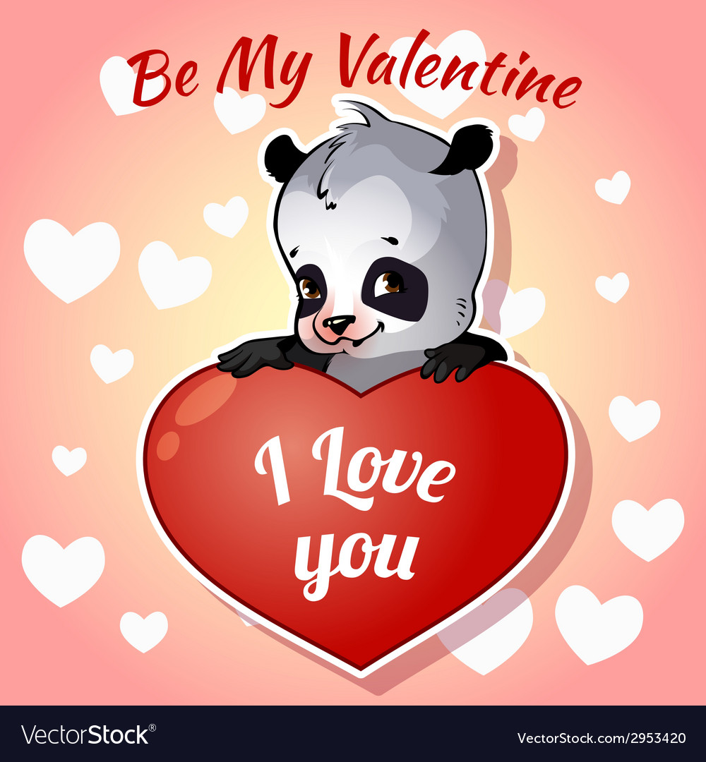 Cute panda for valentines day vector | Price: 1 Credit (USD $1)