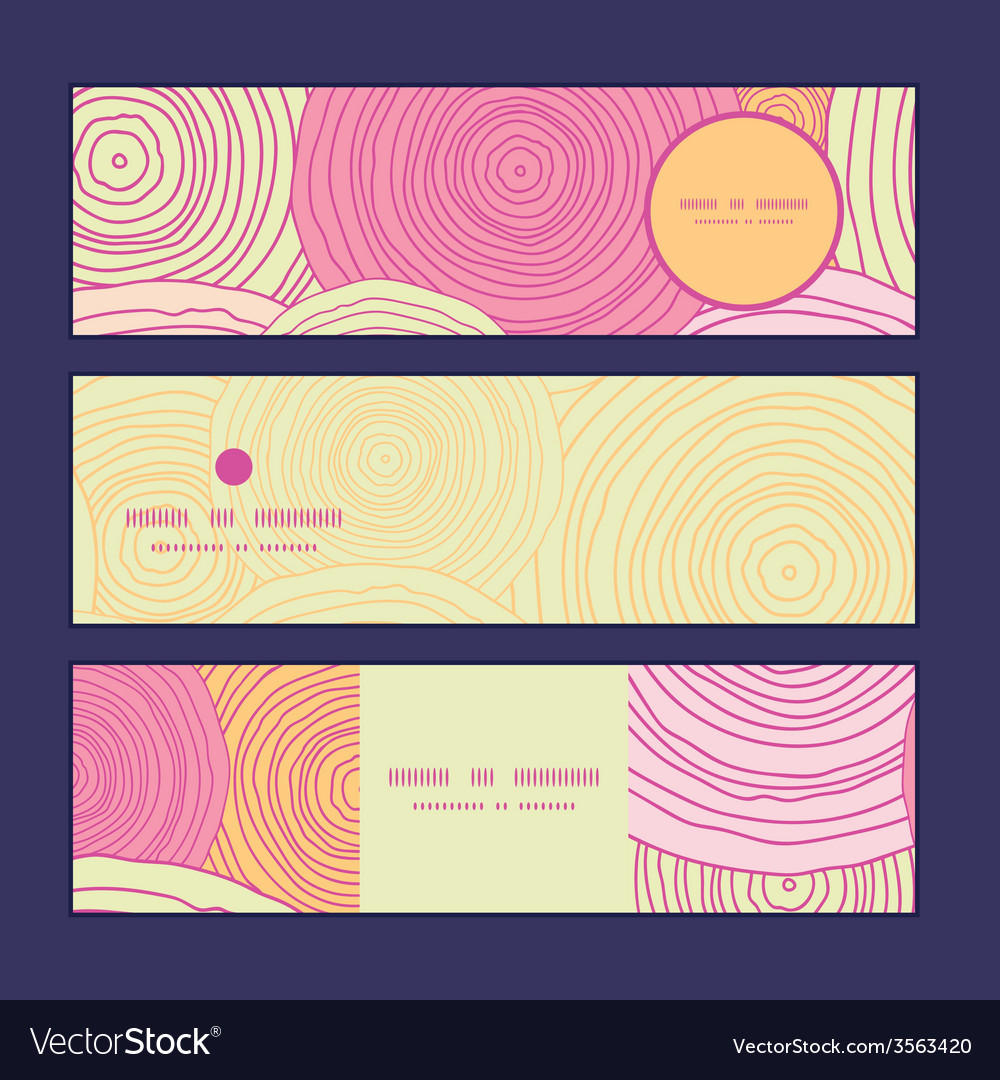 Doodle circle texture horizontal banners set vector | Price: 1 Credit (USD $1)