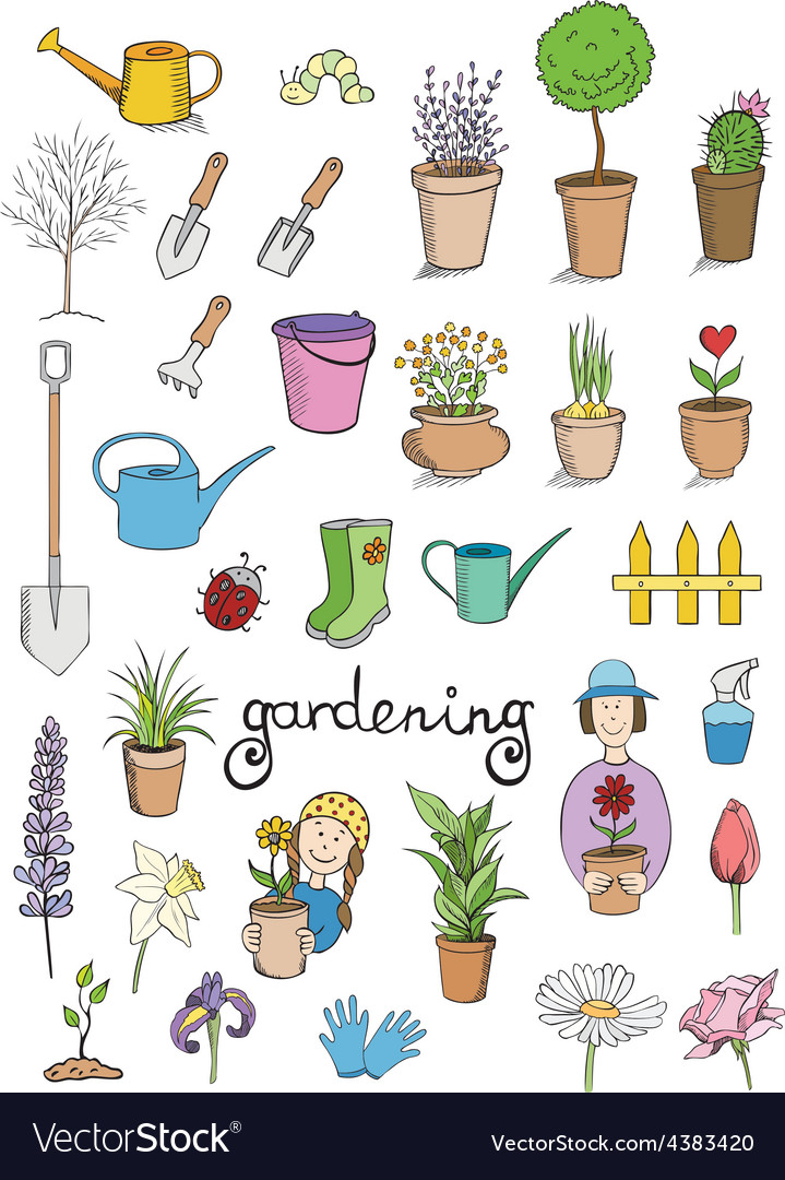 Gardening color icons collection vector | Price: 1 Credit (USD $1)