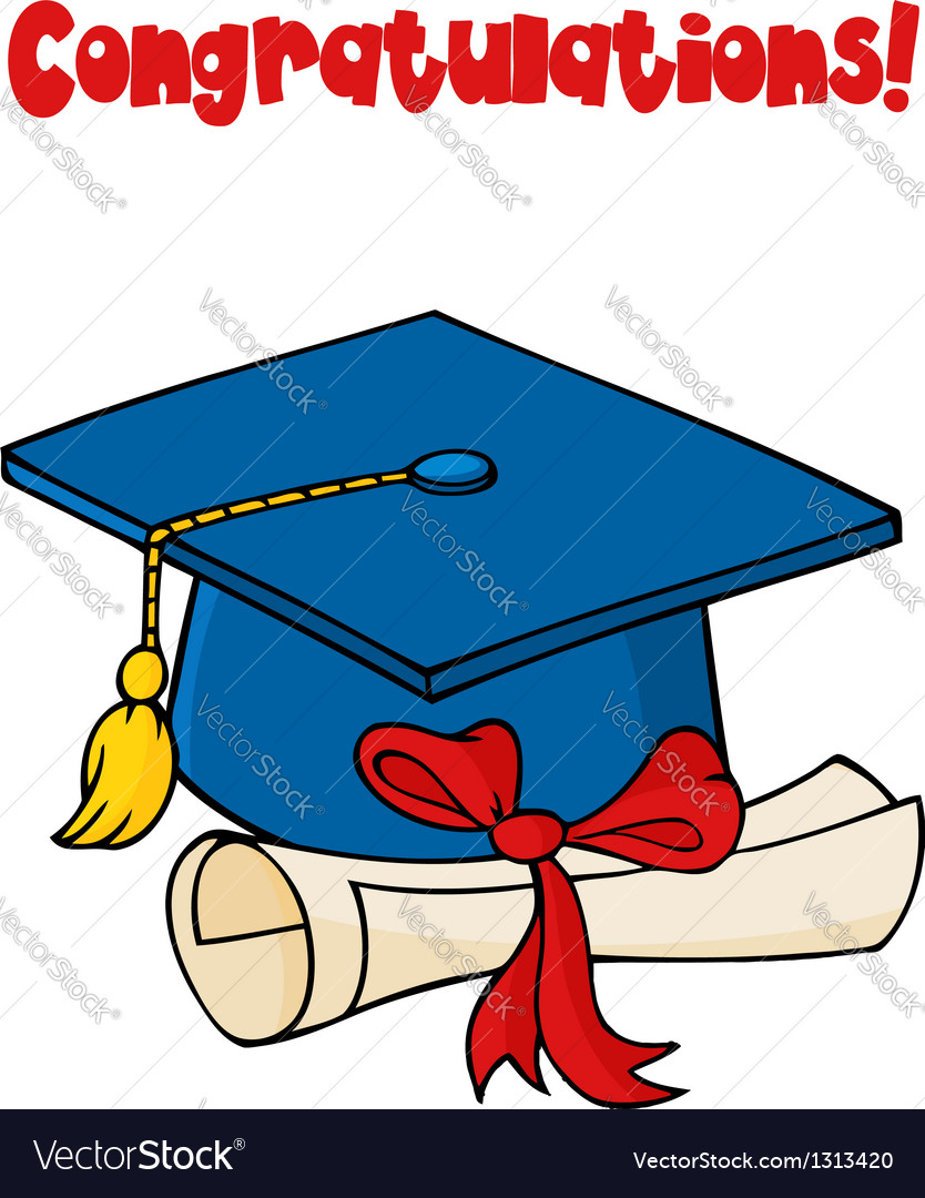 Graduate blue cap with diploma vector | Price: 1 Credit (USD $1)