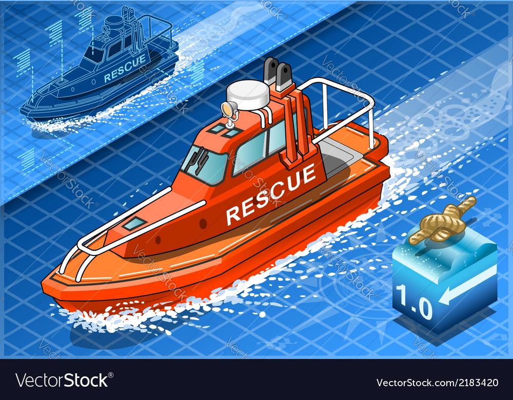 Isometric rescue boat in navigation vector | Price: 1 Credit (USD $1)