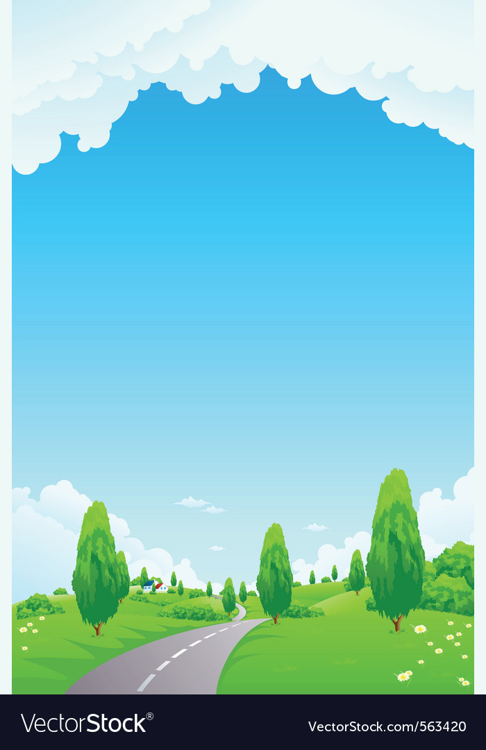 Landscape with trees vector | Price: 1 Credit (USD $1)